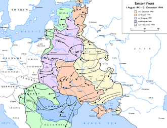 Lublin–Brest Offensive - Lublin‐Brest Offensive is covered in the middle of the purple area — note the cities of Brest, Lublin and Warsaw