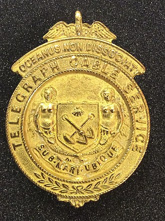 Cable & Wireless plc - Eastern Telegraph Company lapel badge 1914-1918.  Displayed at Porthcurno Telegraph Museum.