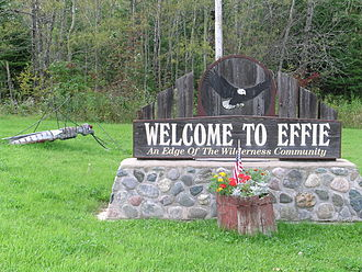 Effie, Minnesota - Giant mosquito (and welcome sign) welcomes travelers to Effie