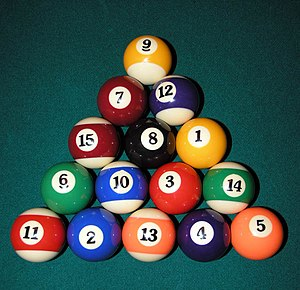 Pool (cue sports) - Image: Eight Ball Rack 2005 Sean Mc Clean
