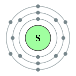 Electron shells of sulfur (2, 8, 6)