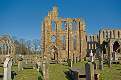 Elgin Cathedral south wall of south transept.jpg