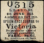 Second class return part of the ticket, for Epsom to Victoria, number 0315, dated 4 June 1913