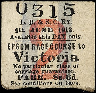 Emily Davison - The return stub of the ticket Davison used on her journey to Epsom