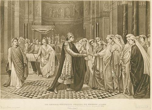 19th century representation of Theophilos' choice Emperor Theophilos chooses his wife.jpg