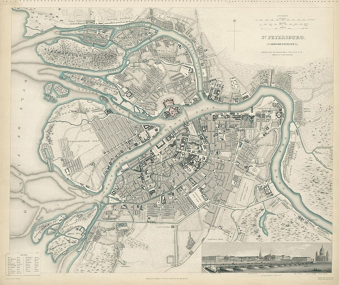 English map of 1834 depicting the city centre and the names of Neva arms