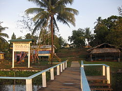 Photograph of entrance to Kabakaburi Village Guyana