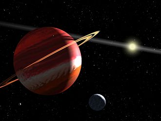 Epsilon Eridani b - An artist's impression of Epsilon Eridani b, depicting it as a gas giant with rings. The object near the bottom is a hypothetical moon.