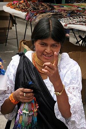 equateur, otavalo, femme quechuas otavalo
