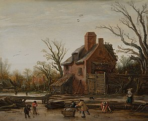Winter landscape with farmhouse