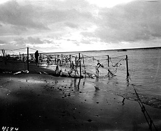 Egegik, Alaska - Native Alaskan fish traps at Egegik, 1917