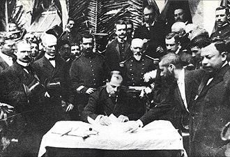 Manuel Estrada Cabrera - President Estrada Cabrera signing decrees. 1907.