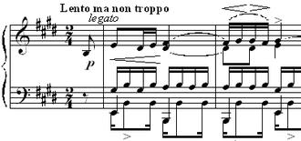 Étude Op. 10, No. 3 (Chopin) - The beginning of Chopin's Étude Op. 10 No. 3