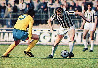 Roy McFarland - McFarland (left) with Derby County in 1973, against Altafini of Juventus (right), during the semifinal round of the European Cup.