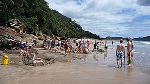 English: Excavations into the sand on Hot Wate...