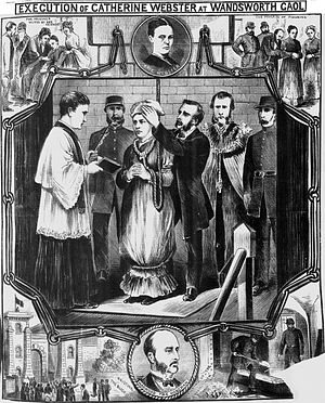 Murder of Julia Martha Thomas - Webster's execution, as depicted by a souvenir illustration in the Illustrated Police News