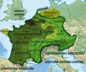 Theudebald - The Frankish Empire in 555, the year of Theudebalds death