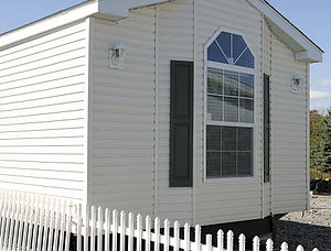 Exterior of a modern single wide manufactured home