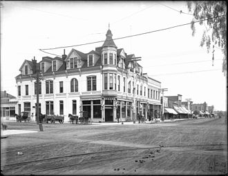 Santa Monica, California - Exterior view of the Bank Building at the corner of Third Street and Broadway, Santa Monica, ca. 1900