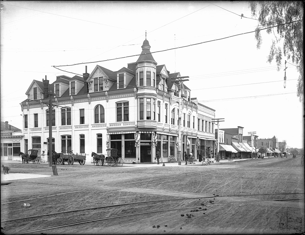 Exterior view of the Bank Building at the corner of Third Street and Broadway, Santa Monica, ca.1900 (CHS-910)