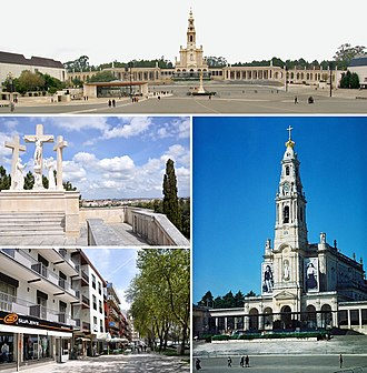 Fátima, Portugal - The Sanctuary of Our Lady of Fátima with the Chapel of the Apparitions, the Hungarian Calvary in Valinhos and the main avenue in Cova da Iria