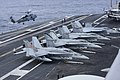 F-18 Hornets and MH-60R on USS Carl Vinson (CVN-70) in 2014.JPG