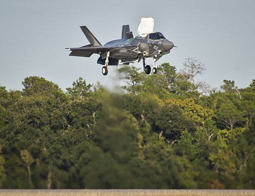F-35B Lightning of VMFAT-501 hovers over Eglin AFB 2013