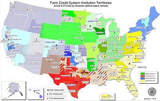 Farm Credit System - Image: FCB institution territories 2016 01 01
