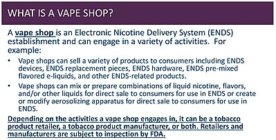 The FDA explains what a vape shop is, among other information.