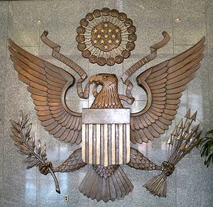 FDIC eagle seal in the main lobby of the headq...