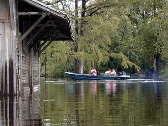 Trent River (North Carolina) - US Geologic Survey team measuring water flow on the Trent River.