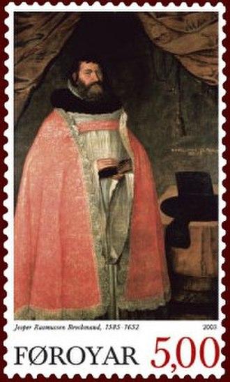 Jesper Brochmand - Bishop Brochmand featured on Postverk Føroya stamp, 2003