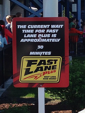 Fast Lane (Cedar Fair) - Fast Lane Plus wait time sign for GateKeeper.