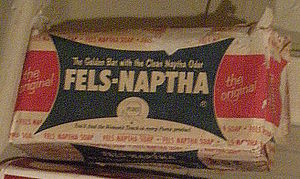 Old Fels-Naptha soap packaging, photographed a...