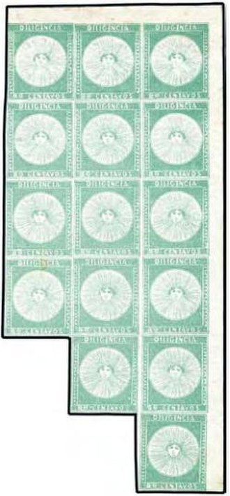 Postage stamps and postal history of Uruguay - 1856 'Diligencia' multiple, 'Ferrer block'.