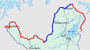 Finland–Norway border - Land border highlighted in red, river border in blue.