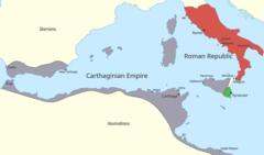 Карта западного Средиземноморья, показывающая территорию, контролируемую Карфагеном и Римом в начале Первой Пунической войны.