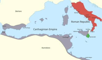First Punic War - Western Mediterranean Sea in 264 BC. Rome is shown in red, Carthage in purple, and Syracuse in green.
