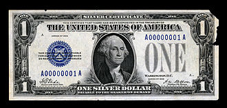 Series of 1928 (United States Currency) - The very first 1928 Silver Certificate issued (i.e., Serial number 1).