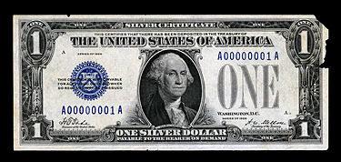 The first small-size $1 Silver Certificate. First Small Size Silver Certificate (face, 1928).jpg