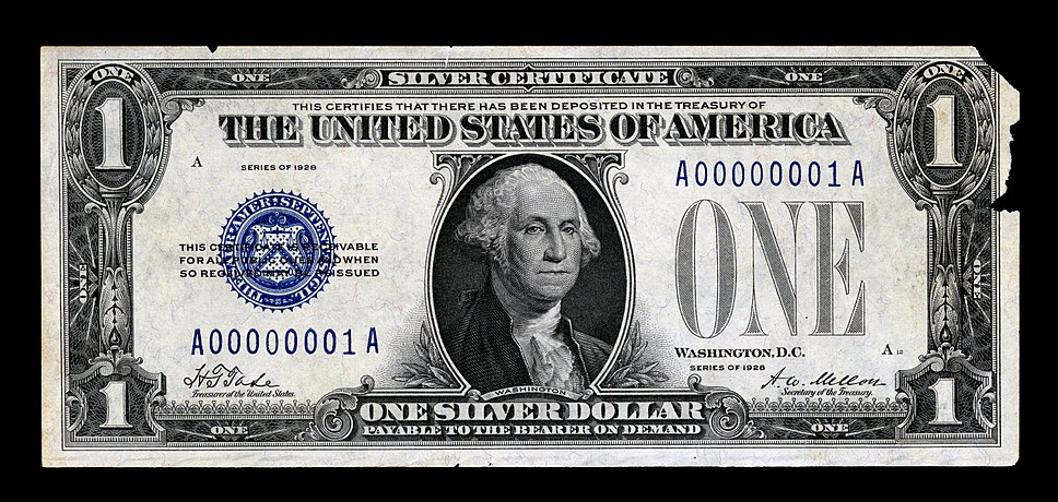 First Small Size Silver Certificate (face, 1928)