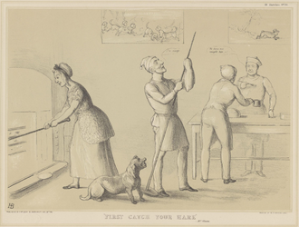 """Jugging - In 1843 John Doyle attributed """"First catch your hare"""" to Mrs. Glasse"""