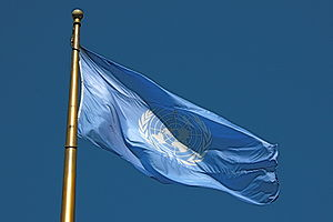 English: The flag of the United Nations, flyin...