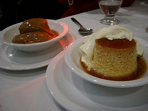 Flan (firm egg custard) with dulce de leche