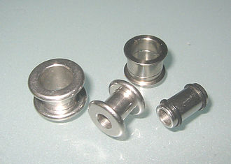 Plug (jewellery) - Surgical steel flesh tunnels in four different gauges.
