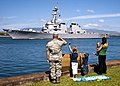 Flickr - Official U.S. Navy Imagery - A service member salutes as a family waves as USS O'Kane deploys..jpg