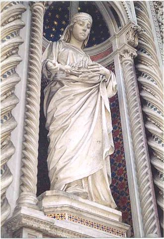 History of Florence - Statue of Santa Reparata in the Santa Maria del Fiore cathedral or duomo of Florence