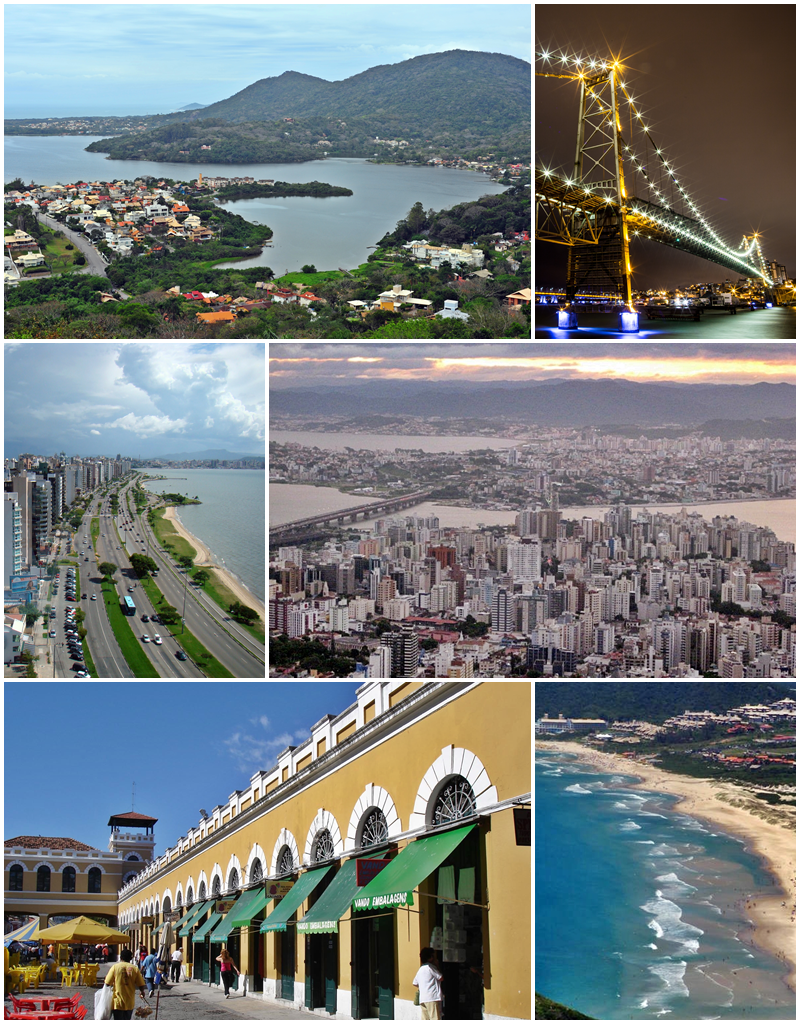From the top, clockwise: panorama on the south side of Lagoa da Conceição; Hercilio Luz Bridge at night; panorama of the central region from the Morro da Cruz; Santinho Beach; Public Market in the historical center and view of Beira Mar Avenue.