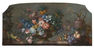 Flowerpiece with Vases and a Parrot
