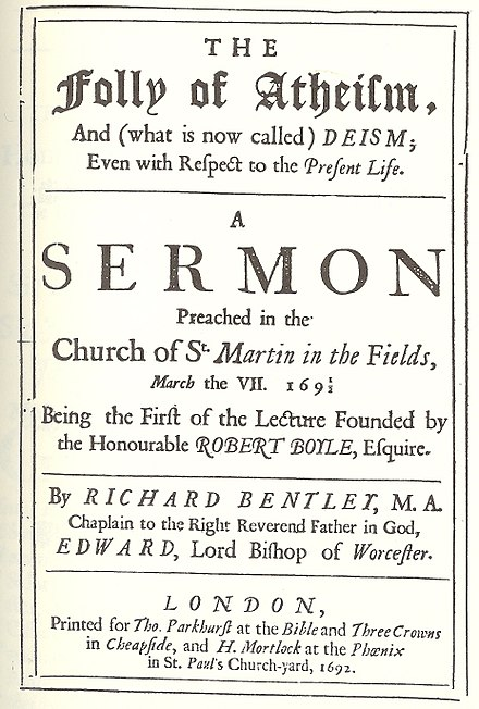 Frontispiece to Richard Bentley's The Folly of Atheism (Boyle Lectures, 1692)